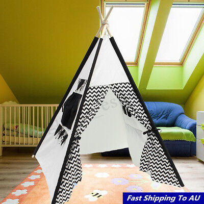 120x120x160cm Waves Canvas Kid Teepee Children Home Game Toy Play Tent Cubby