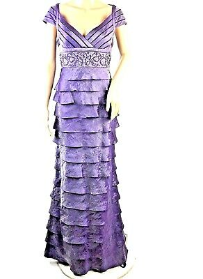 2c2288aaa7f79 Adrianna Papell Womens Beaded Empire Waist Purple Tiered Long V-Neck Gown  Sz 10