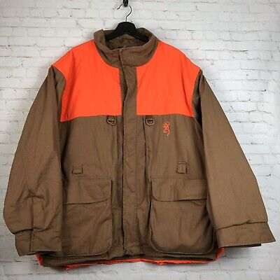 5638500260 Browning Men's Brown Orange Canvas Pheasants Field Hunting Upland Jacket  Size XL