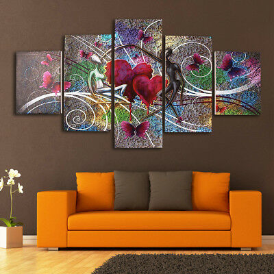 5Pcs Abstract Love Heart Art Canvas Print Painting Wall Decor Framed / Unframed