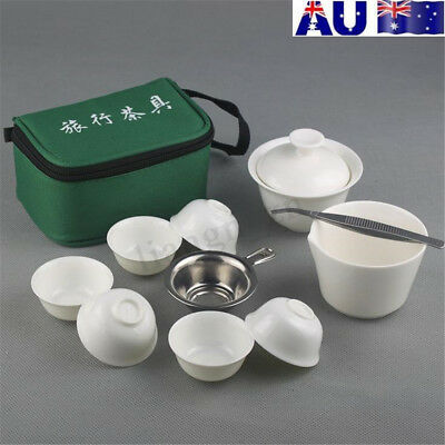 11PCS Ceramic Travel Tea Sets Chinese Portable Bone China Teacup Pot Kung Fu AU