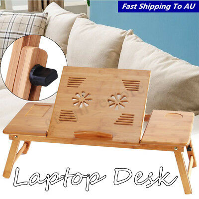Adjustable Foldable Laptop PC Desk Portable Bamboo Bed Notebook Table Holder