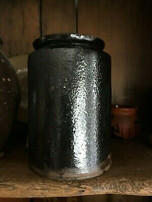 """Antique, Mid 1800s Early American Redware Crock/Canning Jar -Wax Sealer - 6 1/2"""""""