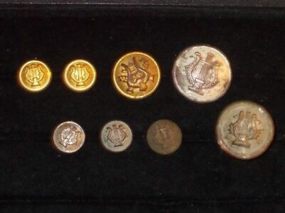 Lot of antique / vintage rare U.S. Military Band Harp Buttons and Hat Pin