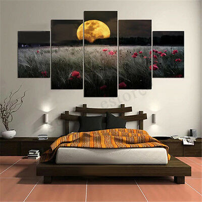 5Pcs Sunset Safflower Canvas Print Painting Living Room Wall Art Decor Unframed