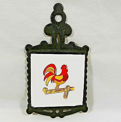 Chicken Trivet Cast Iron Tile Wall Hanging Hanger Kitchen Decor Vintage