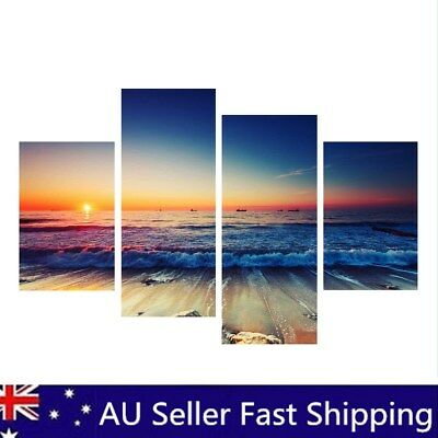 4Pcs Framed canvas prints seascape print Sunset beach modern art wall ocean