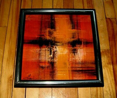"""Danish Modern Vintage Mid-Century Modernist Signed Abstract Painting 10"""" X 10"""""""