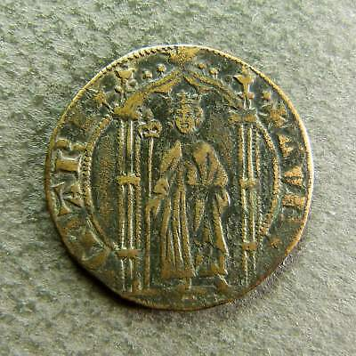 French Religious Medieval Copper Jetton Token / KING STANDING XVth c.