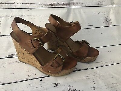 1dab7f4be75 Women s Mossimo Cognac Platform Wedge Sandals Sz 7.5 Brown Buckle Ankle  Strap