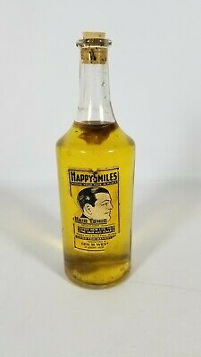 Vintage HAPPY SMILES HAIR TONIC Geo. H. Weyer St. Joseph Bottle Yellow