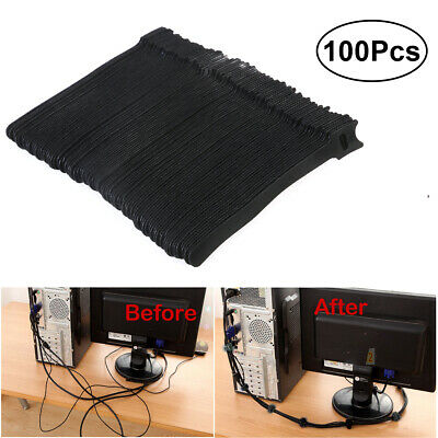 100Pcs Black Strapping Velcro Cable Ties With Buckle Band Luggage Strap Reusable