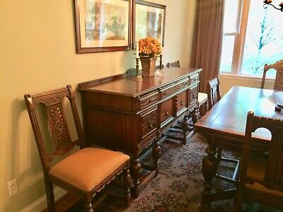 1920 S Northern Furniture Company Jacobean Style 10 Piece Dining Room Set