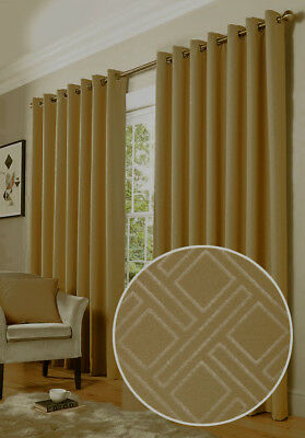 "66""  x 90"" Drop EYELET TOP Diamond Blackout & Thermal Curtains MINK LATTE 271"