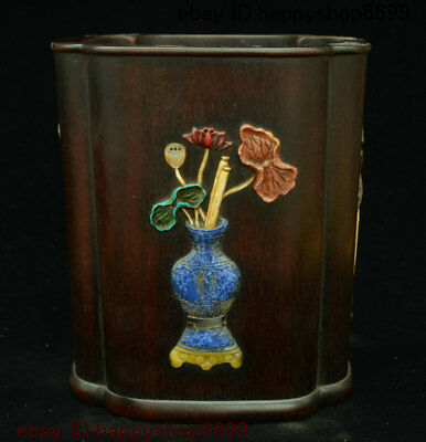 Chinese Huang Huali Wood Inlay Stone Shell Pen Container Pen Container Brush Pot