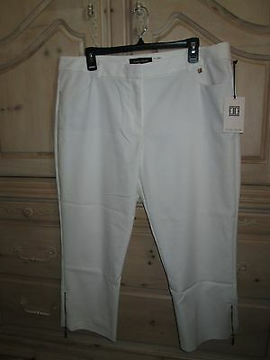 IVANKA TRUMP IVORY ANKLE CROP with LEG ZIPPER WOVEN PANTS/SLACKS  SZ 16 NEW $79