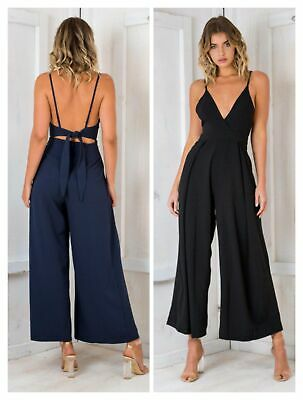 Women Fashion Strap Backless Long Jumpsuits Back Bow Beach Wear Casual Suit