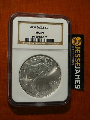 2000 $1 American Silver Eagle Ngc Ms69 Classic Brown Label