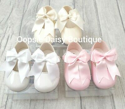 Baby Girls Large Ribbon Traditional Style Shoes - Soft Soles 0/3 3/6 6/12 12/18☆
