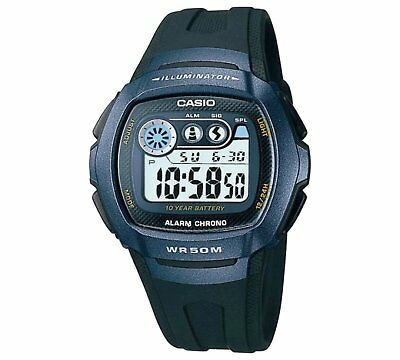 Genuine Casio Men's LCD Digital Blue Case Black Strap Watch 10 Year Battery Life