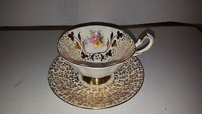 Queen Anne Gold Gilt Pink Rose Wide Mouth Tea Cup and Saucer Scallop Bone China