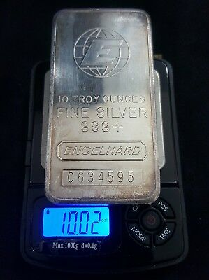 Genuine 10 Troy Oz. Engelhard Refining .999+ Fine Silver Bullion Bar Morgan