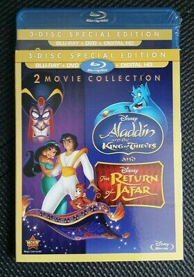 Disney Aladdin II 2 & III 3 King Of Thieves Return Jafar Blu-ray DVD Digital HD
