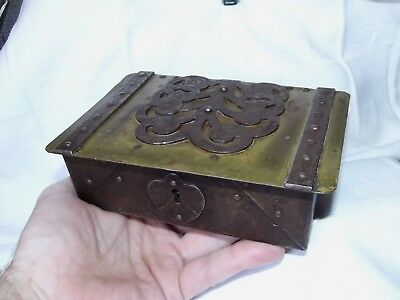 Antique Arts & Crafts Iron Brass Box Jugendstil c.1910 Signed GOBERG Hugo Berger