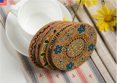 US 4* Cork Wood Drink Coasters Tea Coffee Cup Mat Table Decor Bottle Tableware
