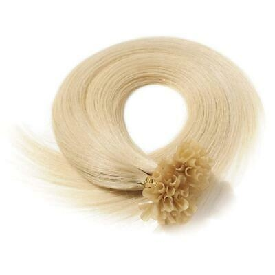 "16"" Indian A Grade Remy Nail Tip Pre Bonded Hair Extensions #613 Bleach Blonde"