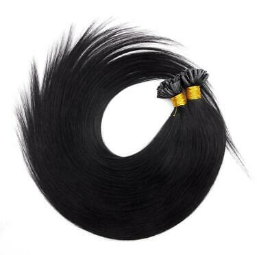 "20"" Indian 3A Grade Remy Nail / U Tip Pre Bonded Hair Extensions #1b Off Black"