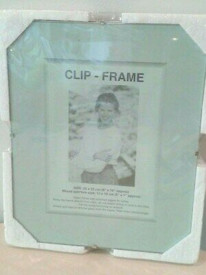 Frameless Picture Frame Photo Poster Glass Clip Metal Home Office 20 x 25cm Shop