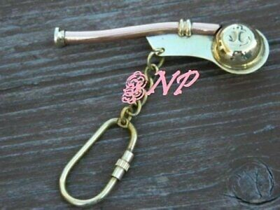 NAUTICAL ANTIQUE BRASS BOATSWAIN'S PIPE BOSUN WHISTLE 3 inch KEY CHAIN ,