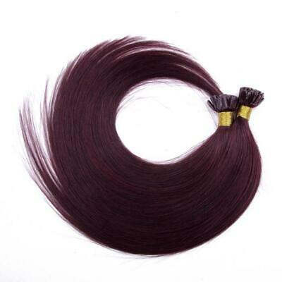 "18"" Indian 3A Grade Remy Nail / U Tip Pre Bonded Hair Extensions #99j Plum"