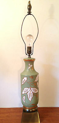 Vtg Hollywood Regency ART POTTERY TABLE LAMP Green White Floral Brass Base 3 Way