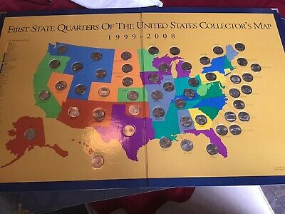 First State Quarters Of The United States Collectors Map 1999-2008