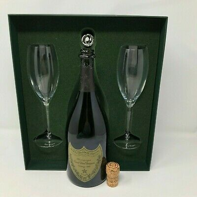 Vintage 1993 Dom Perignon Bottle in Box with Champagne Glasses, cork Very Nice