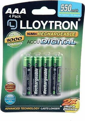 4 x Lloytron 550 mAh AAA Rechargeable Ni-MH Batteries Cordless Phone Remote Toys