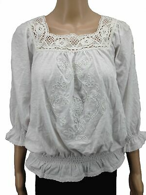9b69665cc696f New  149 In-Vain Women s White Embroidered Square-Neck Smocked Blouse Top  Size L