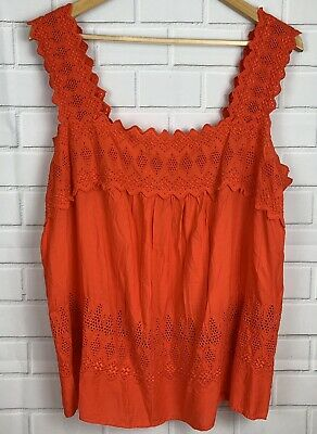 c8ae7b625aa NWT OLD NAVY Womens Large Embroidered Eyelet Top Blouse Tank Hot Tamale  Orange