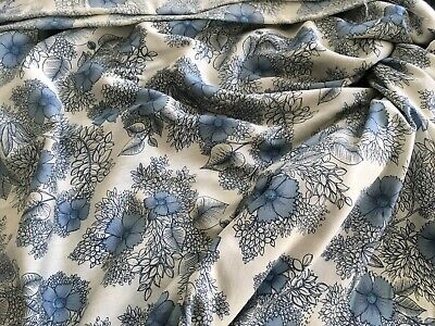 VTG FRENCH Fabric Lawn Cotton Voile Cornflower Blue & White 40s 50s Material