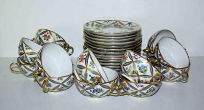 One Pair of Rare Vintage Delvaux Rue Royal  Paris -  2-Handled Cups & Saucers