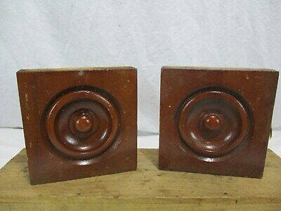 2 Vtg Antique Bulls Eye Corner Block Trim Rosettes Architectural Salvage Wood