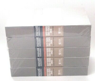 Lot Five (5x) MAXELL Professional ST-126 SE-180 BQ S-VHS Cassettes NEW SEALED
