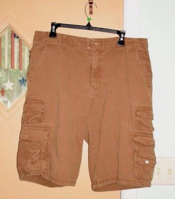 Iron Co. Cargo Shorts Khaki Mens Sz 34 Missing Waist Button