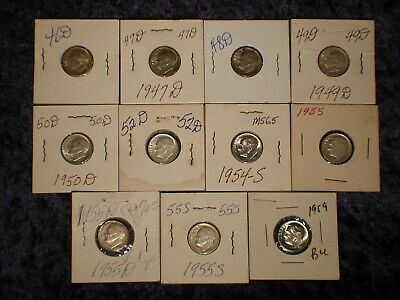 1946 - 1959 U.s. Roosevelt Silver Dime Lot Uncirculated & Proof 11 Coins Estate