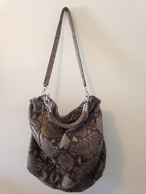 cd29391e9d03 Michael Kors Python Snakeskin Leather Shoulder Bag Handbag Slouch Bag AQ- 1105