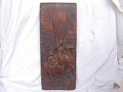 ANTIQUE FRENCH CARVED FIR WOOD PANEL,DON QUICHOTTE,LATE 19th CENTURY.