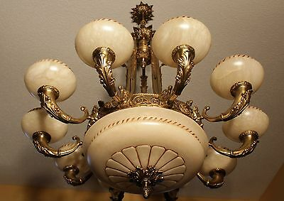 Pair huge Light fixture chandelier solid bronze & real alabaster  America made