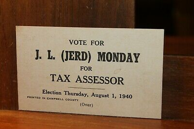 1940 J.L. Jerd Monday for Tax Assessor Election Card Campbell County Tennessee